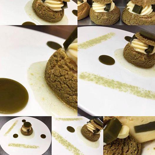 Special menu tonight at apocalypsis Choux matcha lime,craquelin matcha,lime curd,sirup lime with liqueur lime,agar agar matcha tea #matcha #matcha_tea #greentea #apapastavrou #argiris_papastavrou #lime #λαιμ #σου #choux #σουδακια #κρακλιν #craquelin #lime_curd #plated #plated_desserts #japan #αγαρ #choux_matcha #patisserie