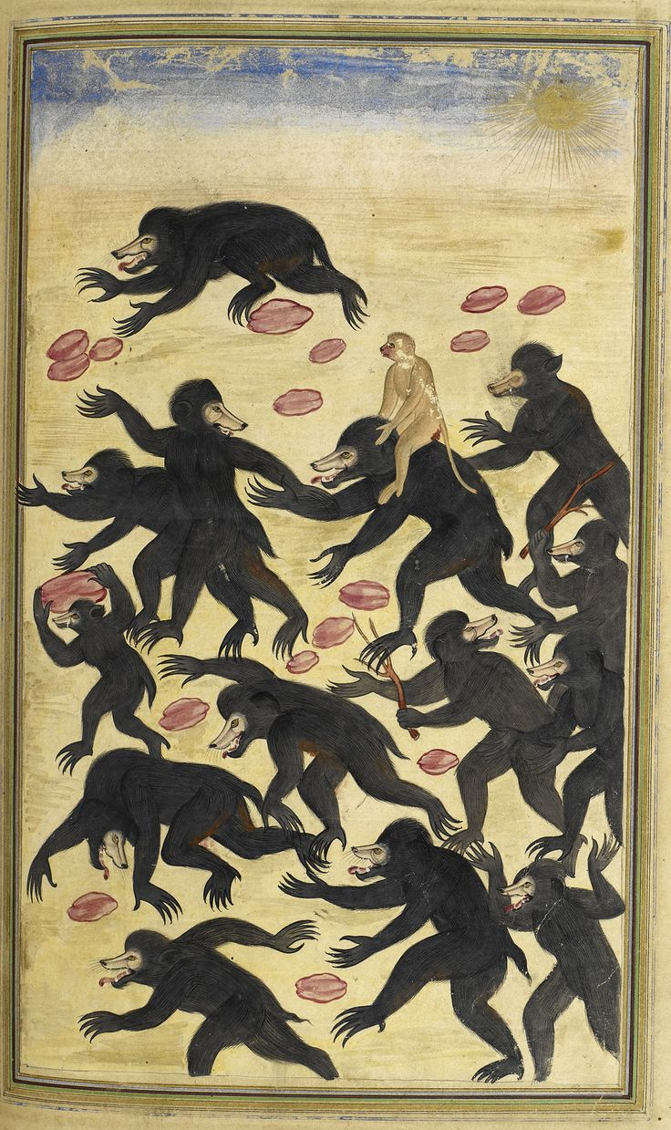 'The monkeys outwitting the bears. Husayn Va'iz Kashifi. Anvar-i Suhayli, a version of Kalila va Dimna. British Library. Gujarat, India, 1600-1601