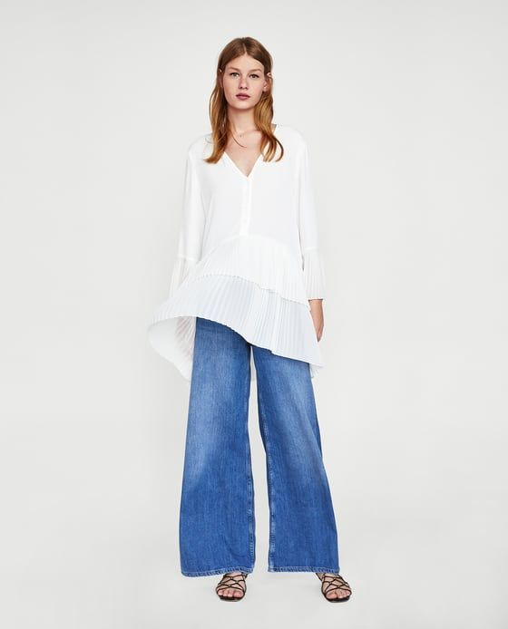 ZARA - WOMAN - CONTRASTING PLEATED BLOUSE