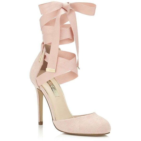 Miss Selfridge GIGI Ballet Wrap Court (£37) ❤ liked on Polyvore featuring shoes, pumps, heels, nude, nude heel shoes, ballet shoes, ballet pumps, ribbon shoes and ballerina heels shoes
