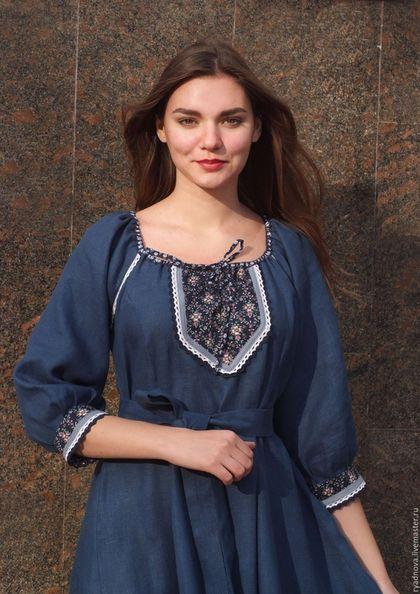 Купить или заказать платье Лаванда (синее) в интернет-магазине на Ярмарке Мастеров. Платье из льна 'Лаванда' теперь и в зимнем варианте! С длинным рукавом или три-четверти, с оригинальной отделкой хлопком, искусственной замшей и нарядным пояском. У платья шикарный цвет - этнографический синий. В этом платье можно чувствовать себя Королевой! Юбка в пол закручивает вихрь энергии от земли, наполняя свое Женское...! Прекрасно подходит для кормящих мамочек и для женщин в ожидании малыша! Р...