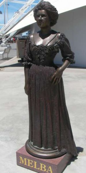 Statue of Dame Nellie Melba by Peter Corlett at Waterfront City, Melbourne Docklands