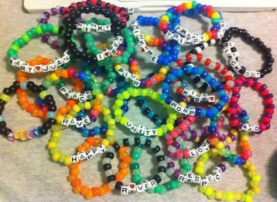 Kandi Pony Beads And Rave: 20 Kandi Rave Music Festival Bracelets Custom By