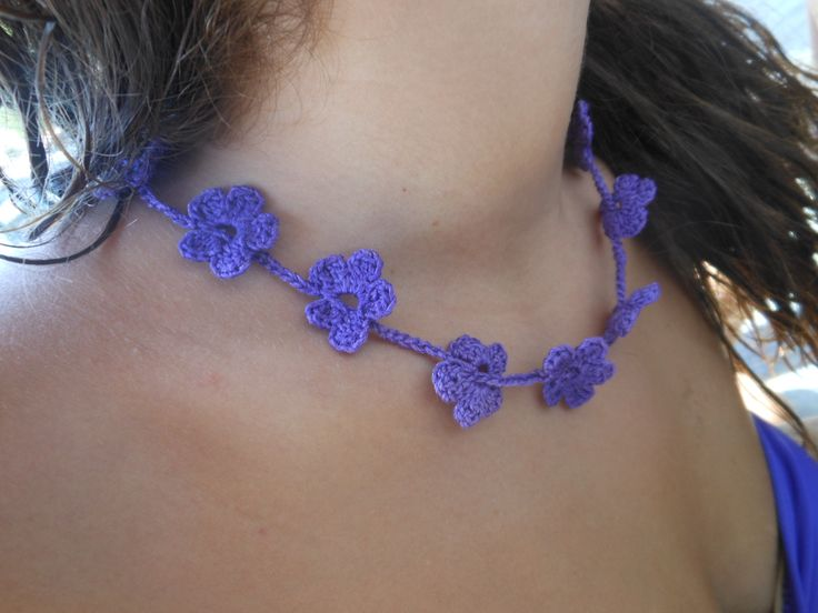 crochet necklace(purple) -Wrap it in your hand ,it's a bracelet /κολιέ βελονάκι (μωβ),διπλο φοριέται και σαν βραχιόλι