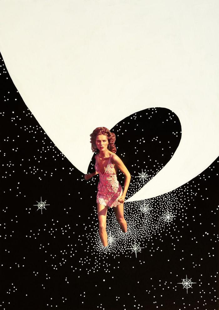Fierce, beautiful woman carrying a white mantle over the black night sky. #goddess #universe #nightsky #stars #light