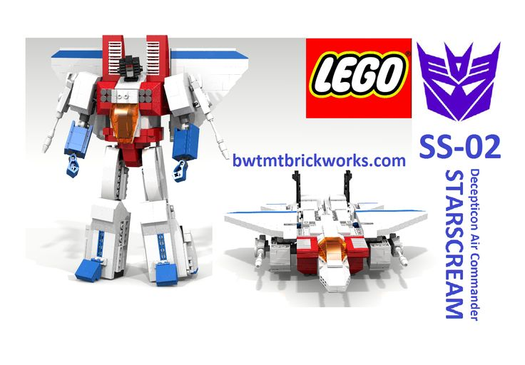 "My latest Reboot of my Lego Transformers Starscream Want to build it yourself - order the LDD File from our website - <a href=""http://www.bwtmtbrickworks.com/ldd-custom-catalog.html"" rel=""nofollow"">www.bwtmtbrickworks.com/ldd-custom-catalog.html</a> and don't forget to watch the transformation sequence on youtube ... <a href=""http://www.youtube.com/watch?v=Spn3PoMH9LE"" rel=""nofollow"">www.youtube.com/watch?v=Spn3PoMH9LE</a>"