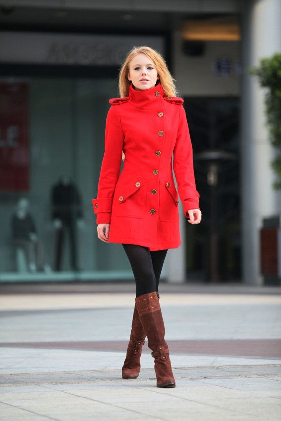 Red Cashmere Coat Fitted Military Style Wool by Sophiaclothing