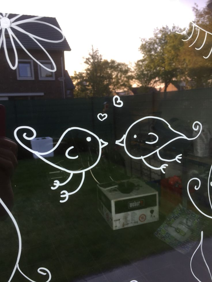 Love birds window!! Great Christmas GIFT !!! A Joy and Easy to write, draw , decorate and wipe with DoSensePro CHALK MARKERS. Get Now on SALE a 10 color Chalk Markers set including 2 whites + a GIFT of 32 Label Stickers. http://www.amazon.com/dp/B0187DKT6Q