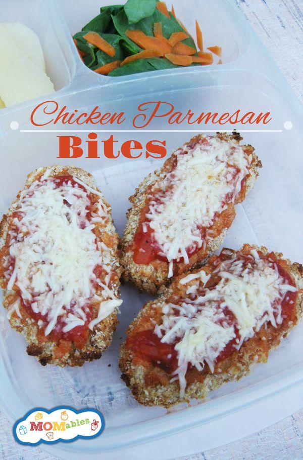 Chicken Parmesan Bites Recipe Easy! Via MOMables.com