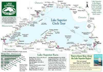 Lake Superior Magazine's Circle Tour map with summary distances and relative positions of cities along the route.