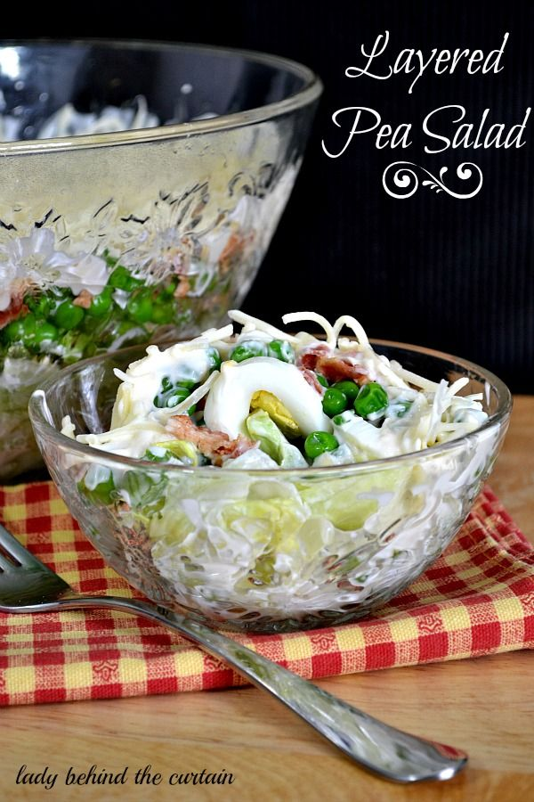 Layered Pea Salad:  2 cups mayo, 1 T. sugar, 1/2 head iceberg lettuce, pulled or chopped into bite size pcs, 1/2 bell pepper, chopped, 1/2 cup celery, chopped, 6 hard boiled eggs, sliced, 1 small bag frozen peas (12 ozs), 1/2 pound bacon, cooked crispy, 2 cups cheddar cheese, shredded.