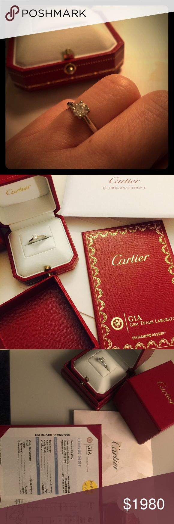 Cartier authentic Solitaire Engagement Ring 0.37 carat with platinum finished, condition as brand new with GIA, Certificate and original receipt purchased price $3644. Cartier Jewelry Rings