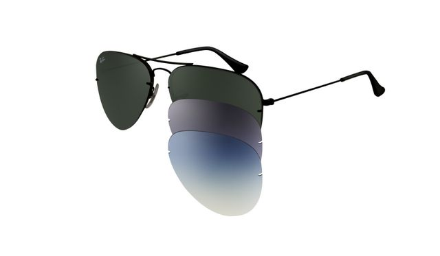 Ray Ban RB3460 Aviator Flip Out Sunglasses Black Frame