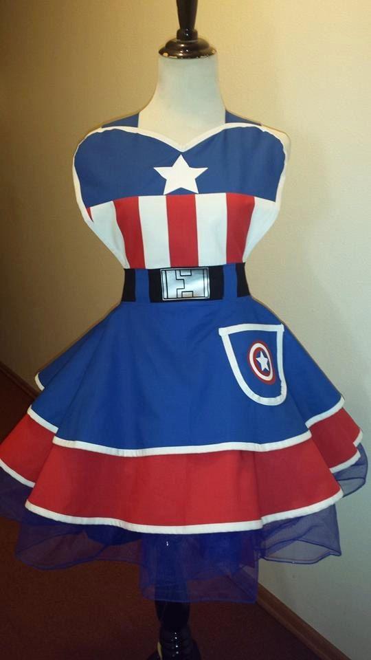 Capitan USA SuperHero Cosplay Retro Pin Up by PandorasProductions
