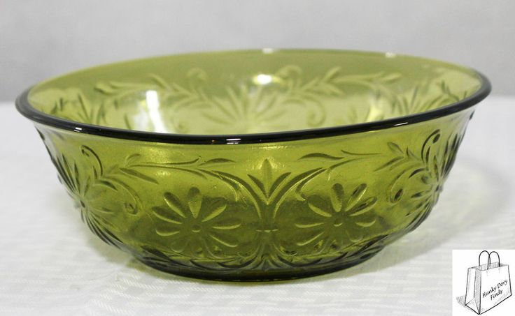 Vintage 1979 Ftd Glass Bowl 7 1 2 Quot Dia Avocado Floral Excellent Condition Green Glassware