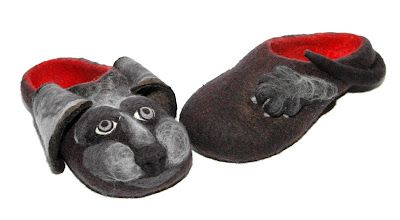 felting slippers dog