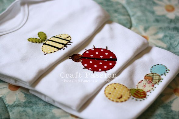 "Get applique pattern on ""Garden Bugs"" design and tutorial on how to do hand applique on onesie."