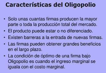 Características de un Oligopolio