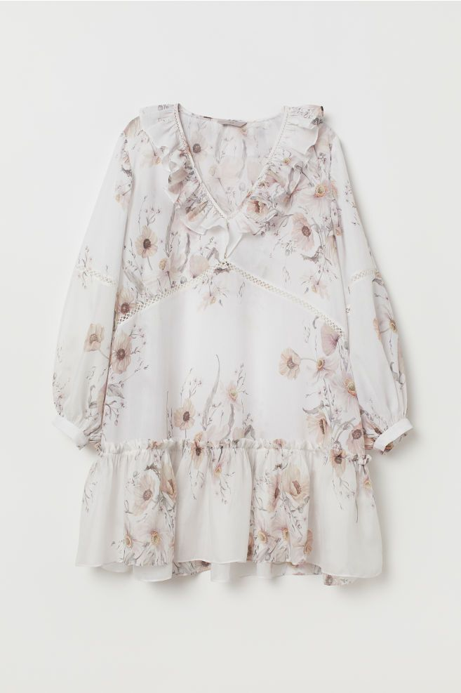 359adac6775 H M+ Flounced Dress - White floral -