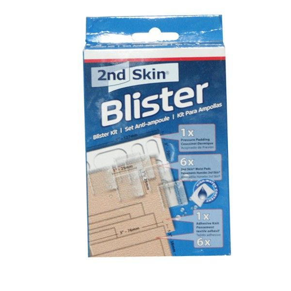 Blister Kit - 2nd Skin Moist Pads (non-sterile) help protect against pressure, friction and blisters. Adhesive Knit holds 2nd Skin moist pads in place. Pressure Pads protect 'hot spots' on the skin, especially the joints of the feet, hands, knees and elbows.