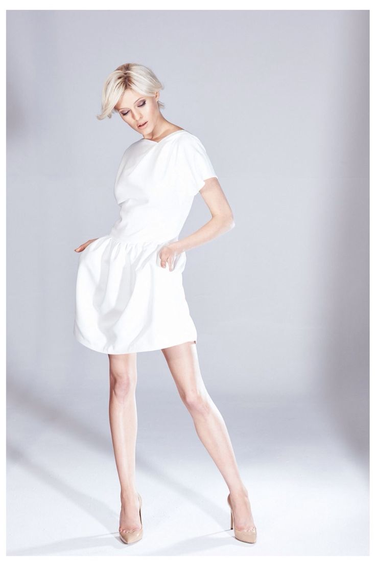 Sukienka bombka ecru z kieszeniami z kolekcji  AW 2014/15 THECADESS