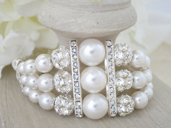 Pulsera novia Art Deco rhinestone de Swarovski y pulsera de