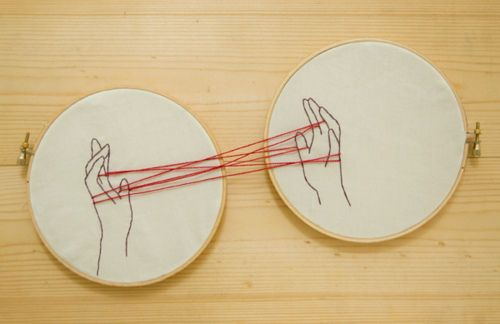 I used to love cat's cradle. What a positively adorable creation. I see all sorts of possibilities coming from this idea as well, maybe a rainbow across two, or a leash with a person and their pet, or a fish being caught. Such fun!
