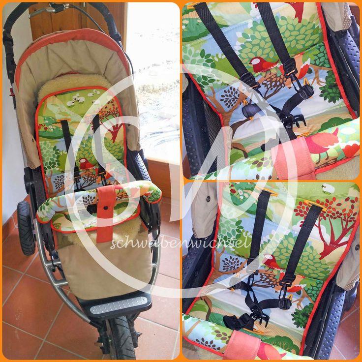 Tutorial für Kinderwagen/ Buggy, Gurtschoner, Sitzauflage und Bügelschutz nähen