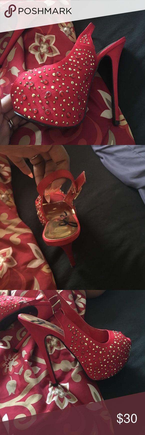 Red and gold bedazzled shoe Red and gold bedazzled high heel. Only worn twice. Not in original box jcpenney Shoes Heels