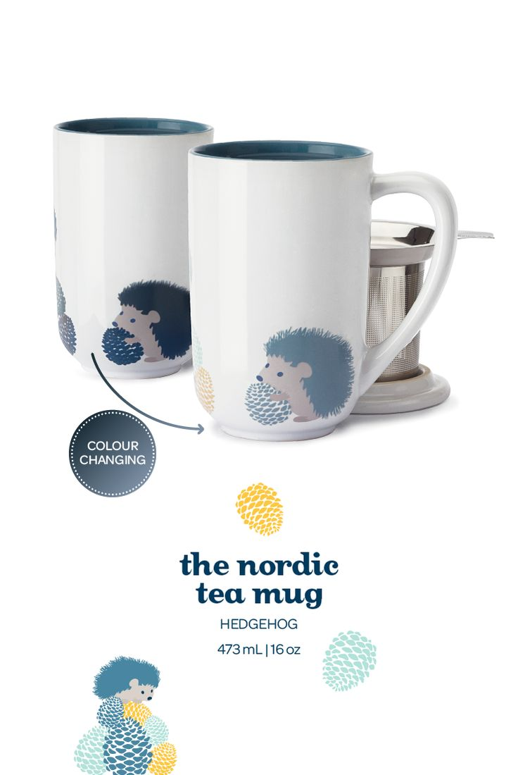 When you add hot water to this mug, the hedgehog design changes colour!