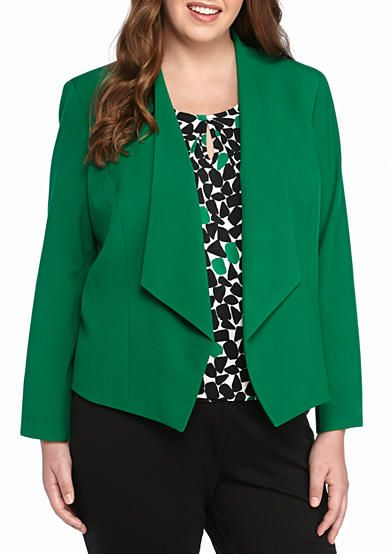 Nine West Plus Size Solid Wing Collar Jacket