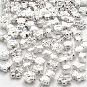 Plastic kralen Novelty, afm 4-10 mm, gatgrootte 1-1,5 mm, 200 stuks, verzilverd