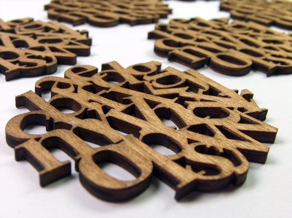 Alphabet wooden coasters set of 6   by InvenioCrafts on Etsy, €14.00