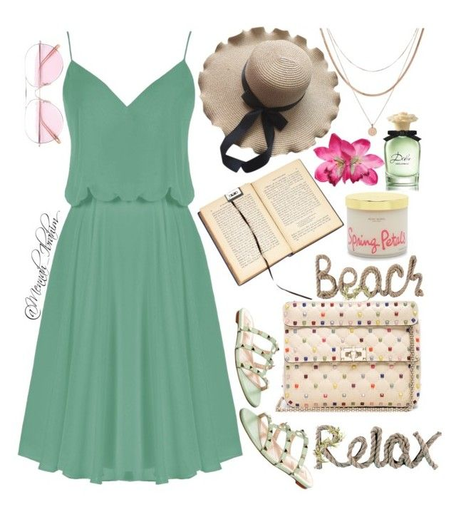 """""""#Summer #Beach #Relax"""" by mennah-ibrahim on Polyvore featuring Valentino, Luv Aj, Henri Bendel, National Tree Company, Dolce&Gabbana and Oliver Peoples"""