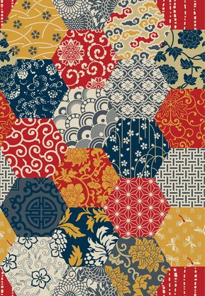 Classic Japanese fabric image on one of our 2015 infrared heaters. #heating #infraredheating #Japanese #fabric #patchwork #art #colour