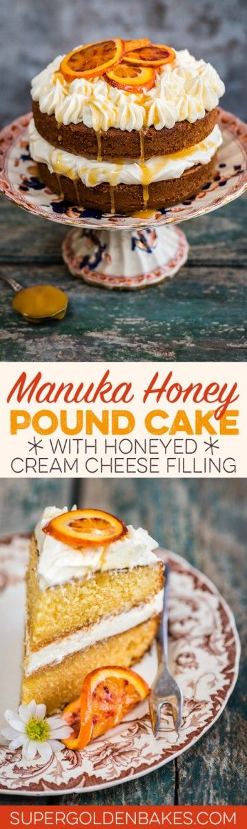 Manuka honey orange pound cake with honeyed cream cheese filling - this simple pound cake requires minimum effort but yields spectacular results!