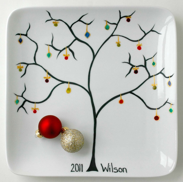 Personalized Family Name Christmas Tree Ornament Plate
