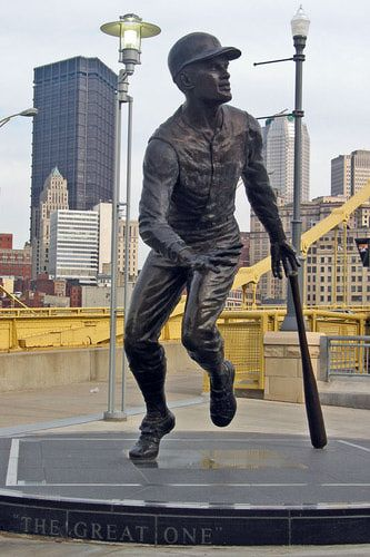 This statue of Roberto Clemente stands outside the Center Field entrance at PNC Park in Pittsburgh.