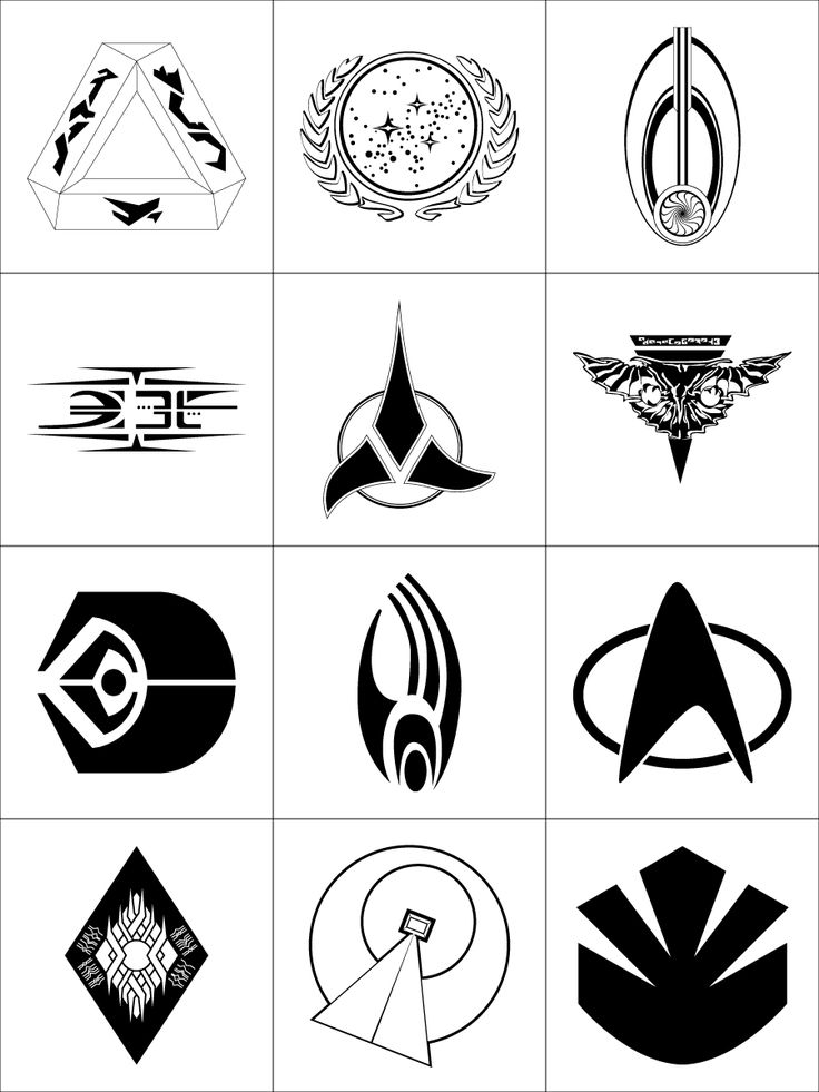 In order: (left to right, top to bottom) Tholian United Federation of Planets Bajor Kazon Klingon Empire Romulan Star Empire Ferengi Alliance Borg Star Fleet Vidian Sodality Vulcan Maquis