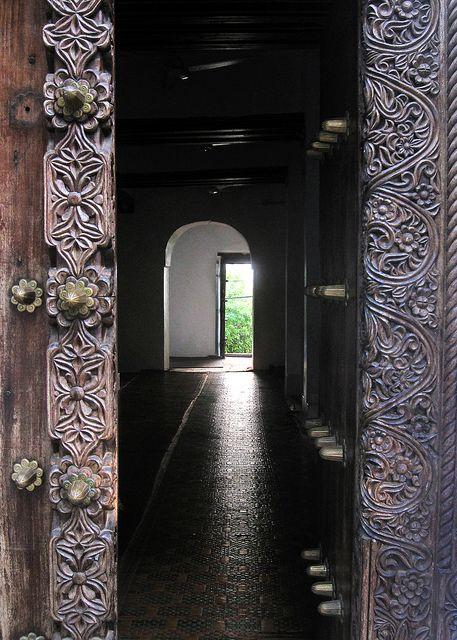 Carved Swahili mosque door - Lamu Archipelago, Kenya by david schweitzer, via Flickr