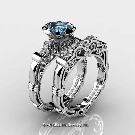 Art Masters Caravaggio 14K White Gold 1.0 Ct Aquamarine Diamond Engagement Ring Wedding Band Set R623S-14KWGDAQ
