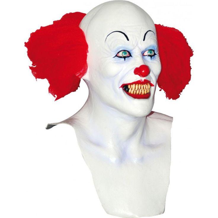 """Ce masque clown blanc avec cheveux rouge est intégral, il recouvre même le haut du torse, inspiré directement du film """"ça"""" il est de haute qualité car de marque Ghoulish."""
