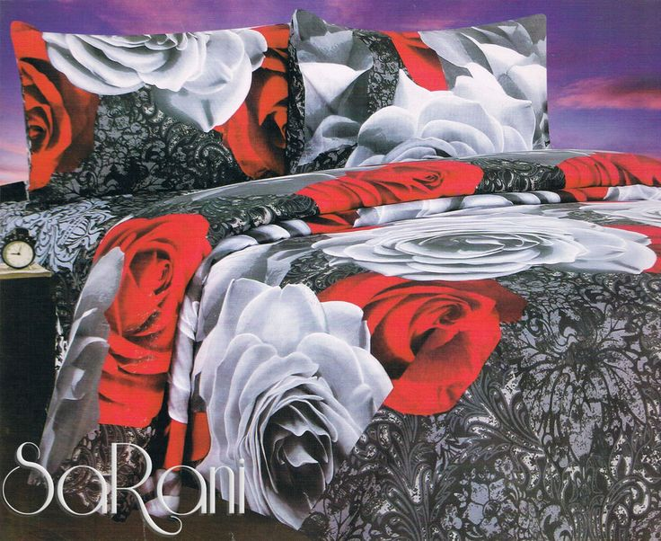 Set Completo Lenzuola Sotto e Sopra Federe Matrimoniale Digitale Floreale Rose