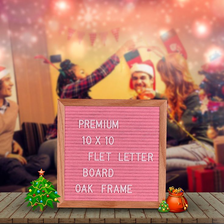 """10"""" * 10"""" Felt Letter Board Sign Message Home Office Decor Board Oak Frame White Letters Symbols Numbers Characters"""