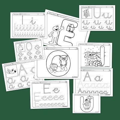 Fichas para trabajar la lectoescritura, colorear y reconocer las vocales