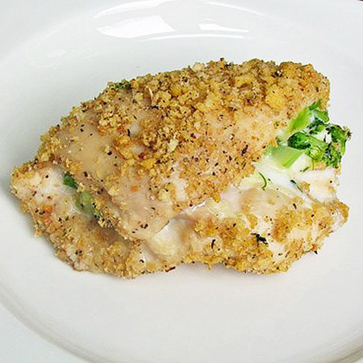 Skinny Broccoli and Cheese Stuffed Chicken Recipe Main Dishes with boneless skinless chicken breasts, broccoli, laughing cow, panko breadcrumbs, whole wheat breadcrumbs, italian seasoning, black pepper, salt, egg whites