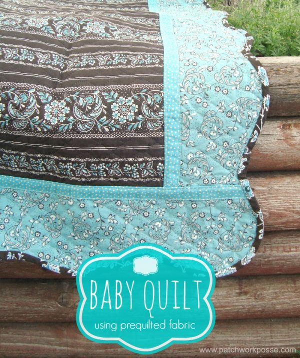 baby quilt with pre quilted fabric- what a great idea!