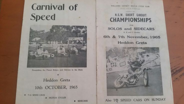 My Dads race programs from 1965 Heddon Greta Speedway, Kurri Kurri, Australia