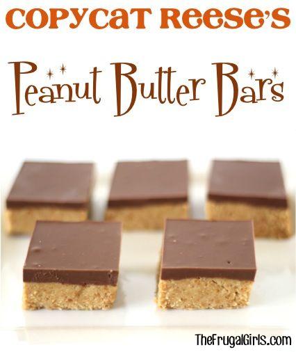 Copycat Reese's Peanut Butter Bars Recipe at TheFrugalGirls.com