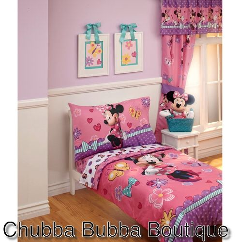 Disney Cute Minnie Mouse 4-Piece Toddler Bedding Set- Preorder  $109.99  Worldwide Shipping Layby Available info@chubbabubbaboutique.com  #minniemousetoddler #minniemousecot #minniemousebedding #chubbabubbaboutique